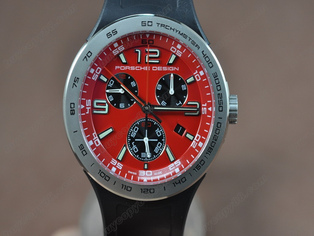 保時捷【男性用】  6320 Flat6 SS/RU/Red Dial Swiss Eta 251.262 石英機芯搭載