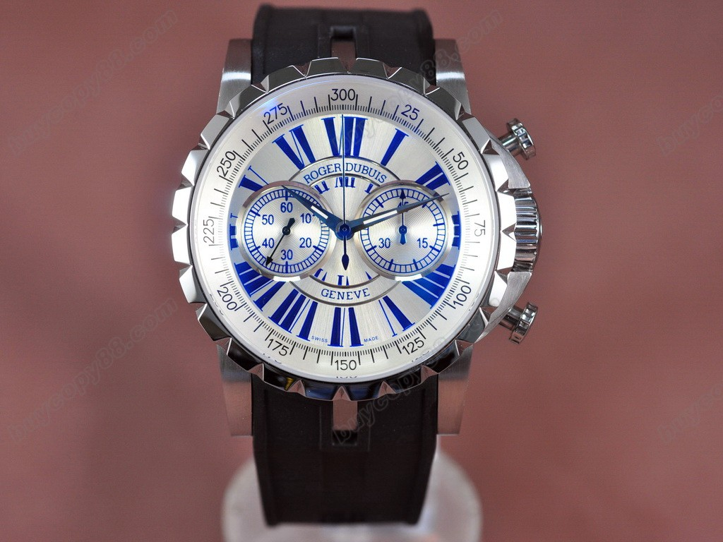 豪爵錶【男性用】Excalibur Chrono SS/RU Wht/Blu Manual手上鏈搭載