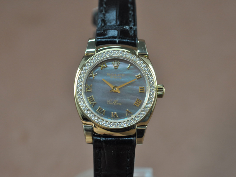 勞力士 Watches Cellini 26mm YG/LE Diam Bel Pearl 藍文字盤 Ronda 762 石英機芯 搭 載