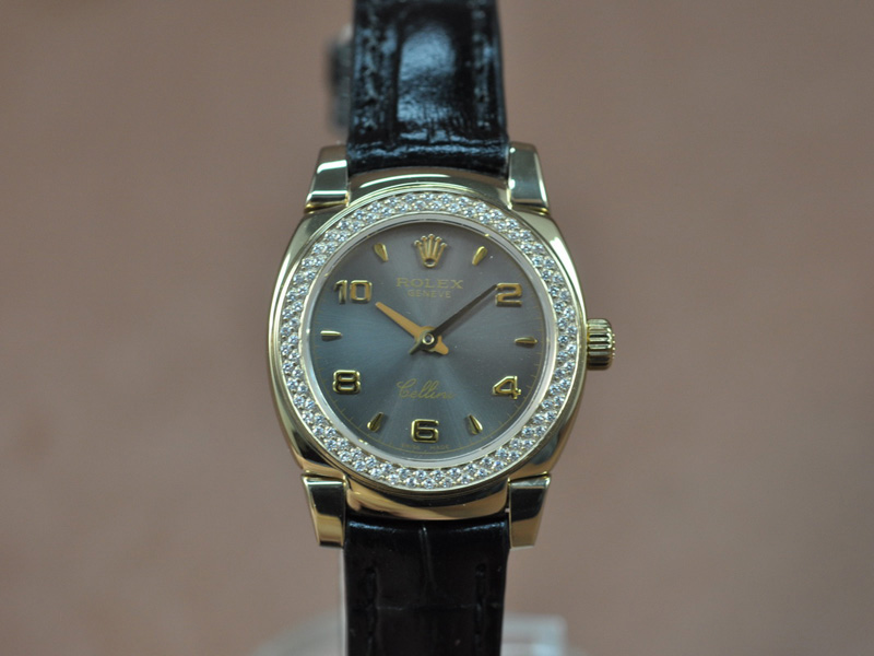 勞力士 Watches Cellini 26mm YG/LE Diam Bel Metal 灰色 文字盤 Ronda 762 石英機芯 搭 載