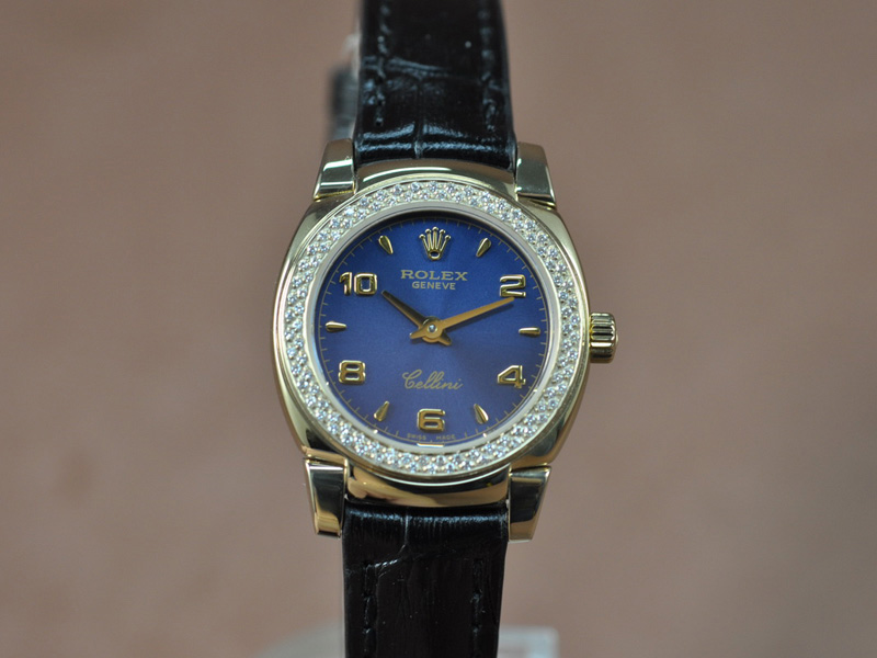 勞力士 Watches Cellini 26mm YG/LE Diam Bel 藍文字盤 Ronda 762 石英機芯 搭 載