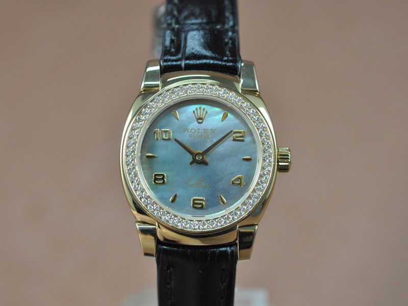 勞力士 Watches Cellini 26mm YG/LE Diam Bel Pearl 藍 文字盤 Ronda 762 石英機芯 搭 載