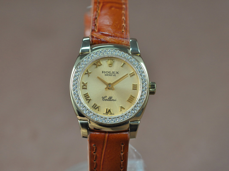 勞力士 Watches Cellini 26mm YG/LE Diam Bel 金色 文字盤 Ronda 762 石英機芯 搭 載