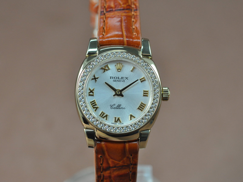 勞力士 Watches Cellini 26mm YG/LE Diam Bel Metal 銀白 文字盤 Ronda 762 石英機芯 搭 載