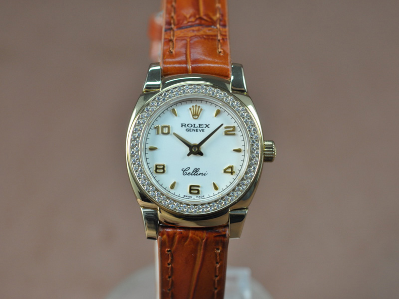 勞力士 Watches Cellini 26mm YG/LE Diam Bel Pearl 白 文字盤 Ronda 762 石英機芯 搭 載
