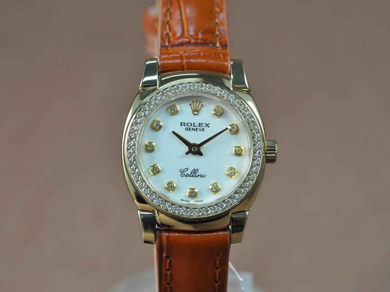 勞力士 Watches Cellini 26mm YG/LE Diam Bel 白 文字盤 Ronda 762 石英機芯 搭 載