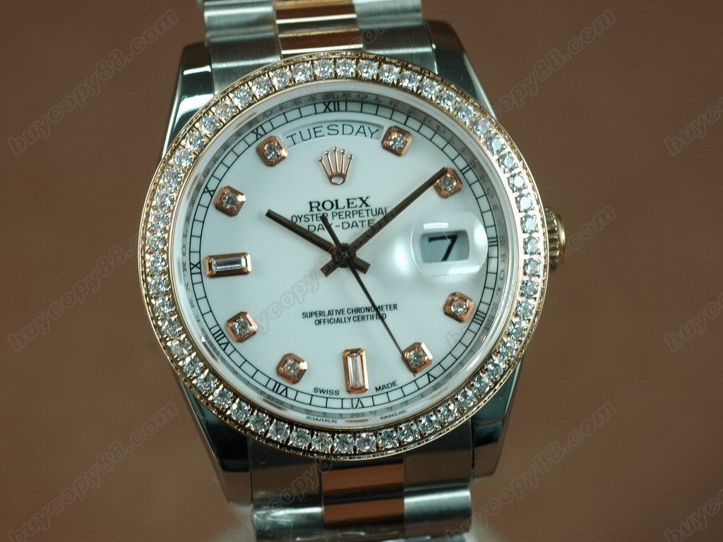 勞力士【男性用】 DateDay 36mm TT Diamonds White Dial A-2836-2自動機芯搭載