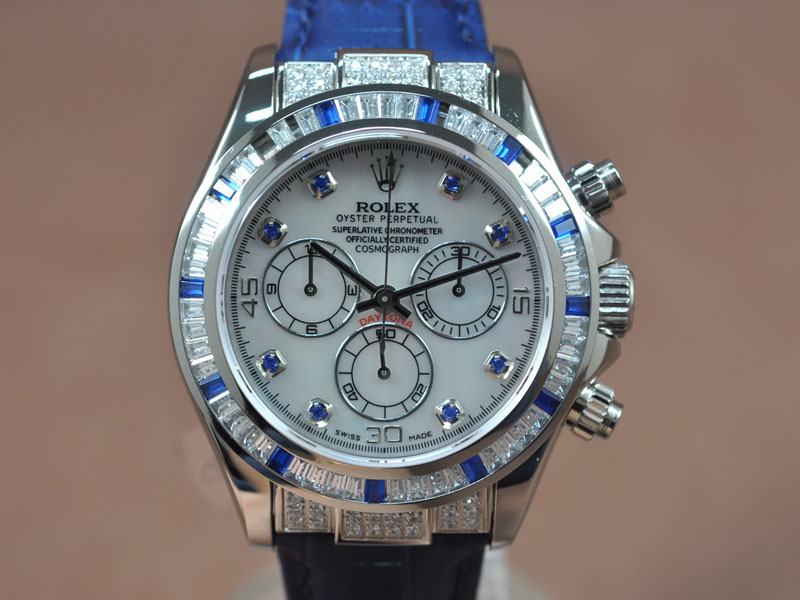 勞力士 Watches Daytona SS/LE Square Diam Pearl 白 Asia 7750 Chrono 自動機芯 搭 載