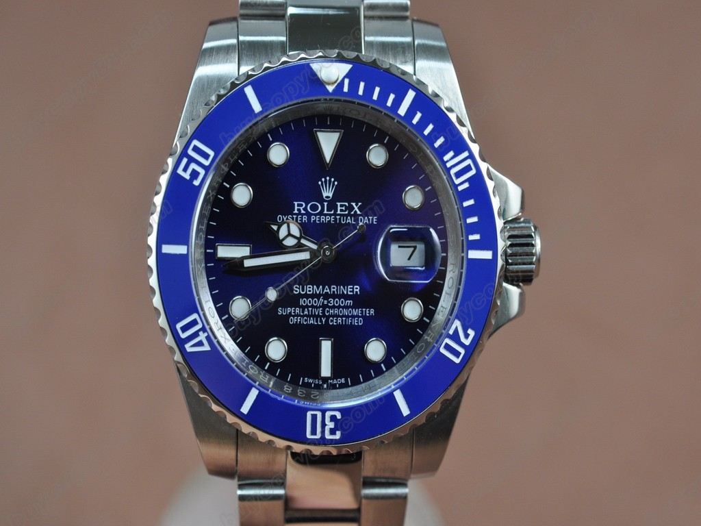 勞力士【男性用】Submariner SS Blue Dial Blue Ceramic Bezel Asian 2813 自動機芯搭載