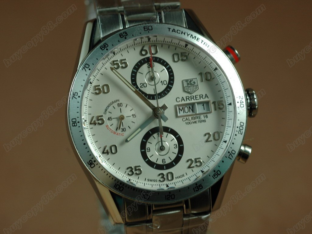 豪雅【男性用】Carrera 41mm 2008 Automatic Chrono SS White A-7750 自動機芯搭載.振頻每小時 28,800 次
