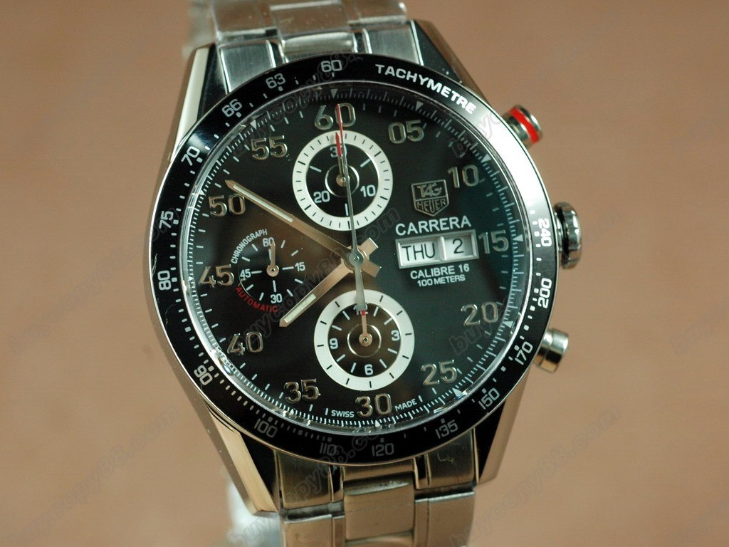豪雅【男性用】Carrera 41mm 2008  Chrono SS Black A-7750 自動機芯搭載.振頻每小時 28,800 次