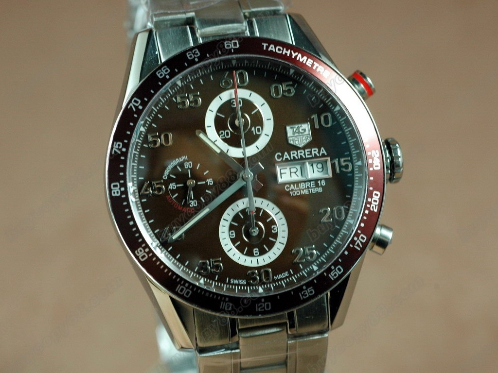豪雅【男性用】 Carrera 41mm 2008  Chrono SS Brown A-7750 自動機芯搭載.振頻每小時 28,800 次