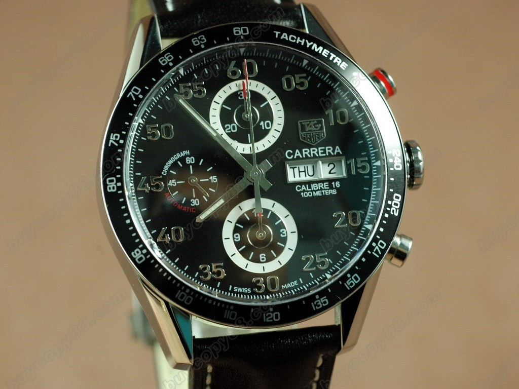 豪雅【男性用】Carrera 2008  Chrono SS/LE Black A-7750自動機芯搭載.振頻每小時 28,800 次