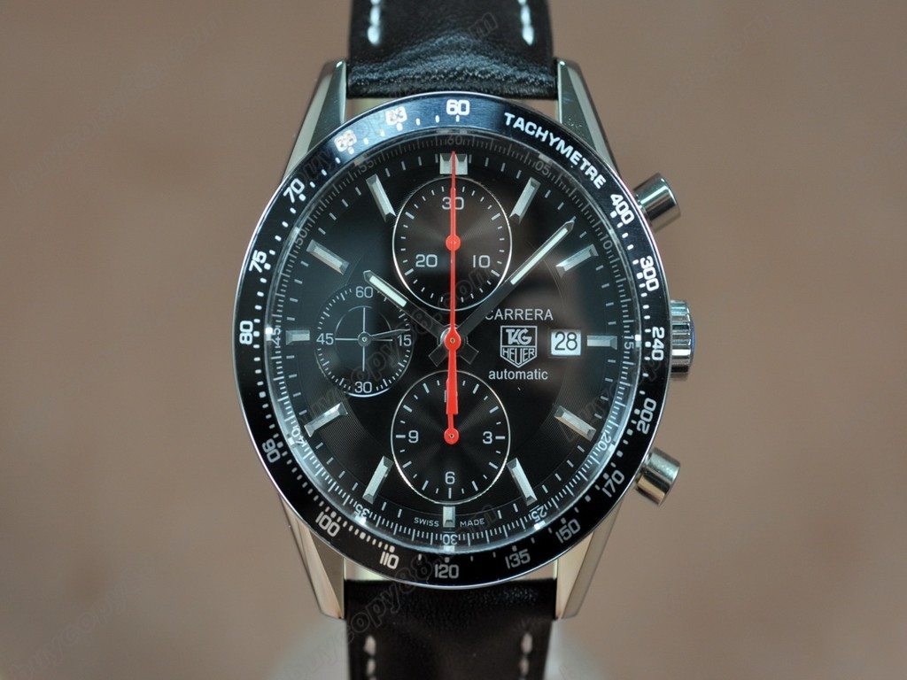 豪雅【男性用】 Carrera 41mm Chronograph SS/LE Black dial A-7750自動機芯搭載