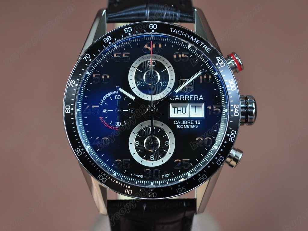 豪雅【男性用】 Carrera 43mm Chrono SS/LE Blk A-7750自動機芯搭載