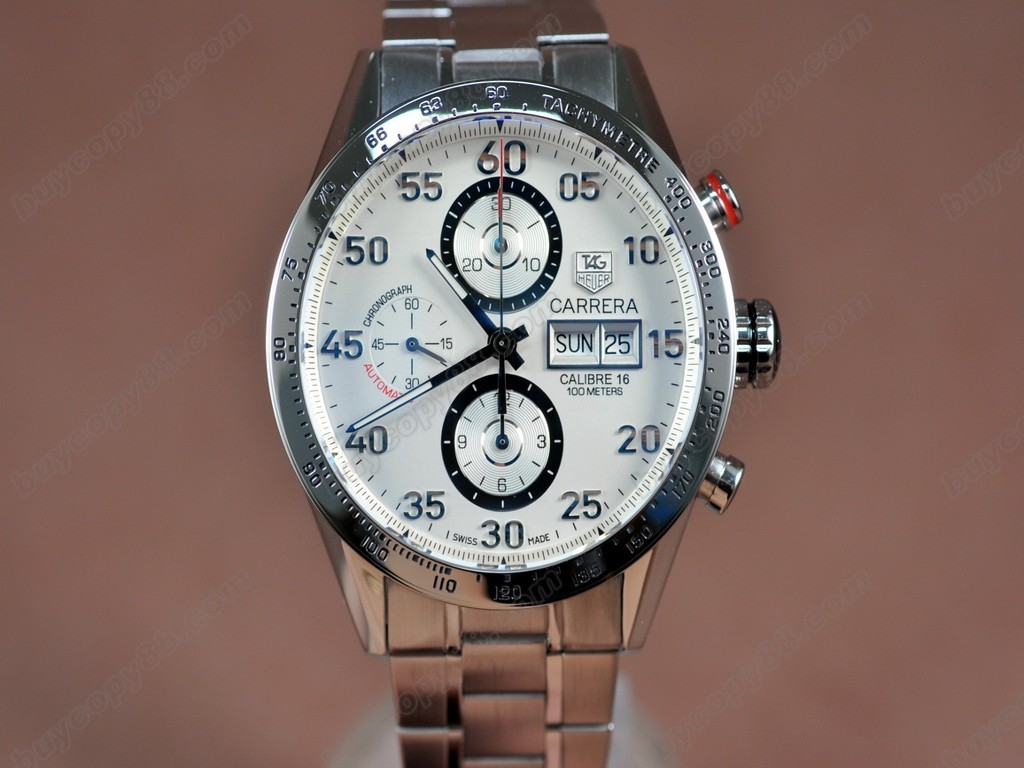 豪雅【男性用】Carrera 43mm Chrono SS/SS Wht A-7750 自動機芯搭載