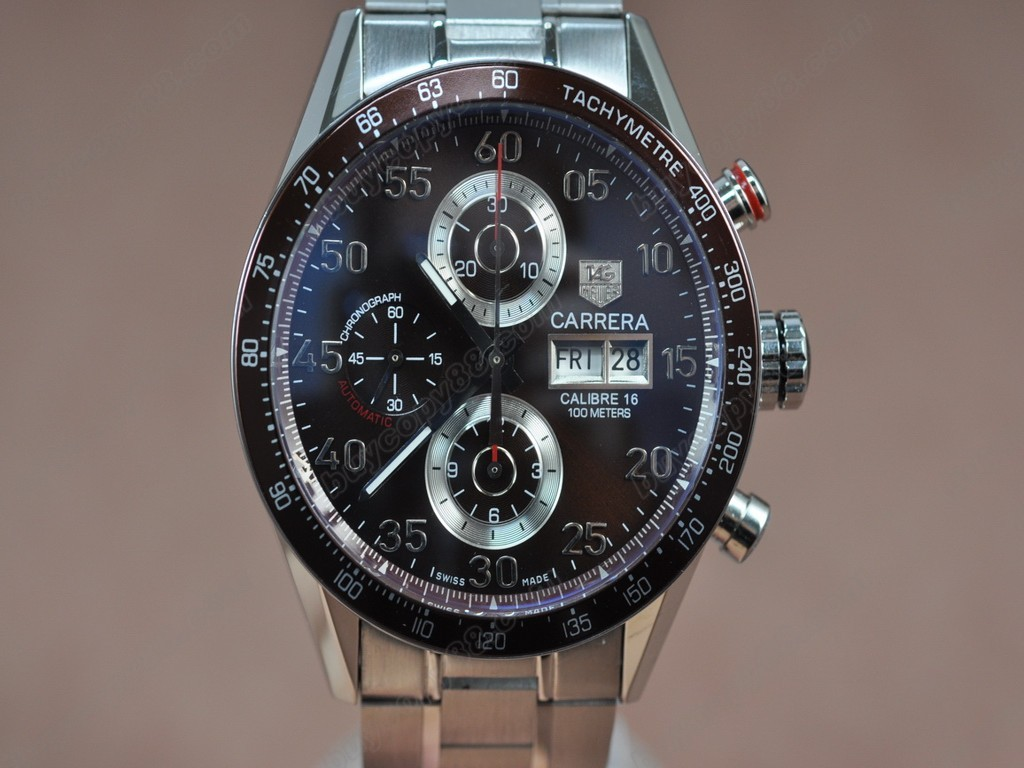豪雅【男性用】 Carrera 43mm Chrono SS/SS Brown A-7750自動機芯搭載