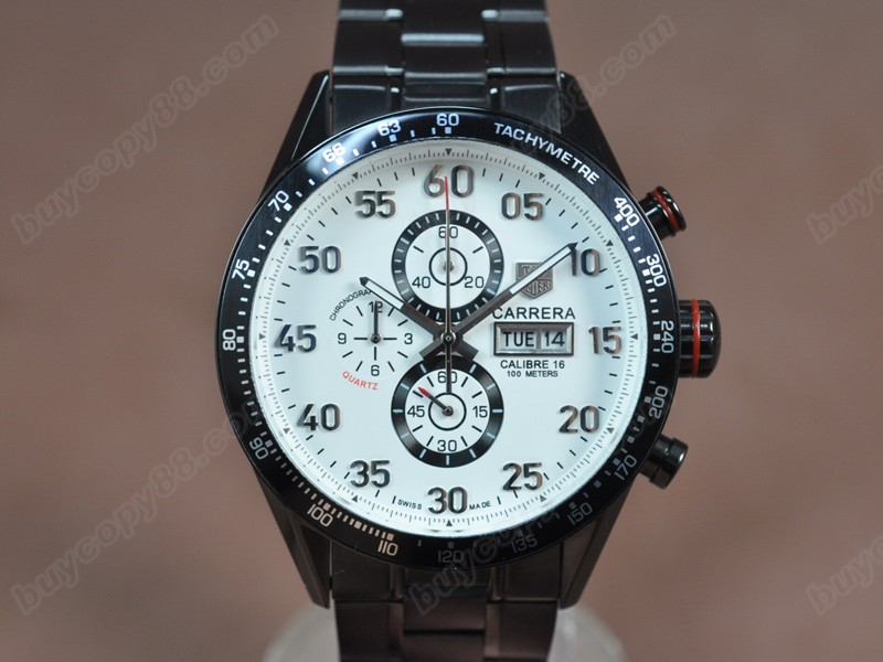 豪雅錶Tag Heuer Carrera 43mm Black PVD White Dial Jap OS11石英錶