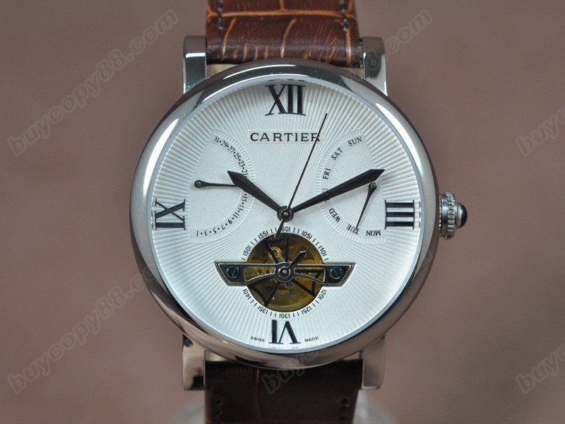卡地亞Cartier Calender Tourbillon SS/LE White Asian自動機芯搭載
